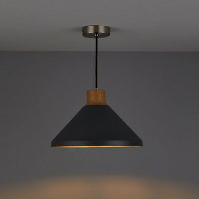 Corbyn Concrete & wood effect Pendant ceiling light