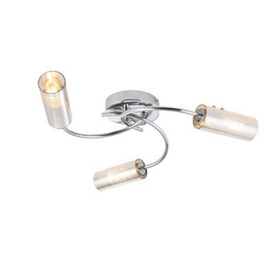Picture of: Jojo Brushed Chrome Effect 3 Lamp Ceiling Light Departments Diy At B Q