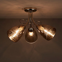 Jenessa Bright Nickel Effect 3 Lamp Semi Flush