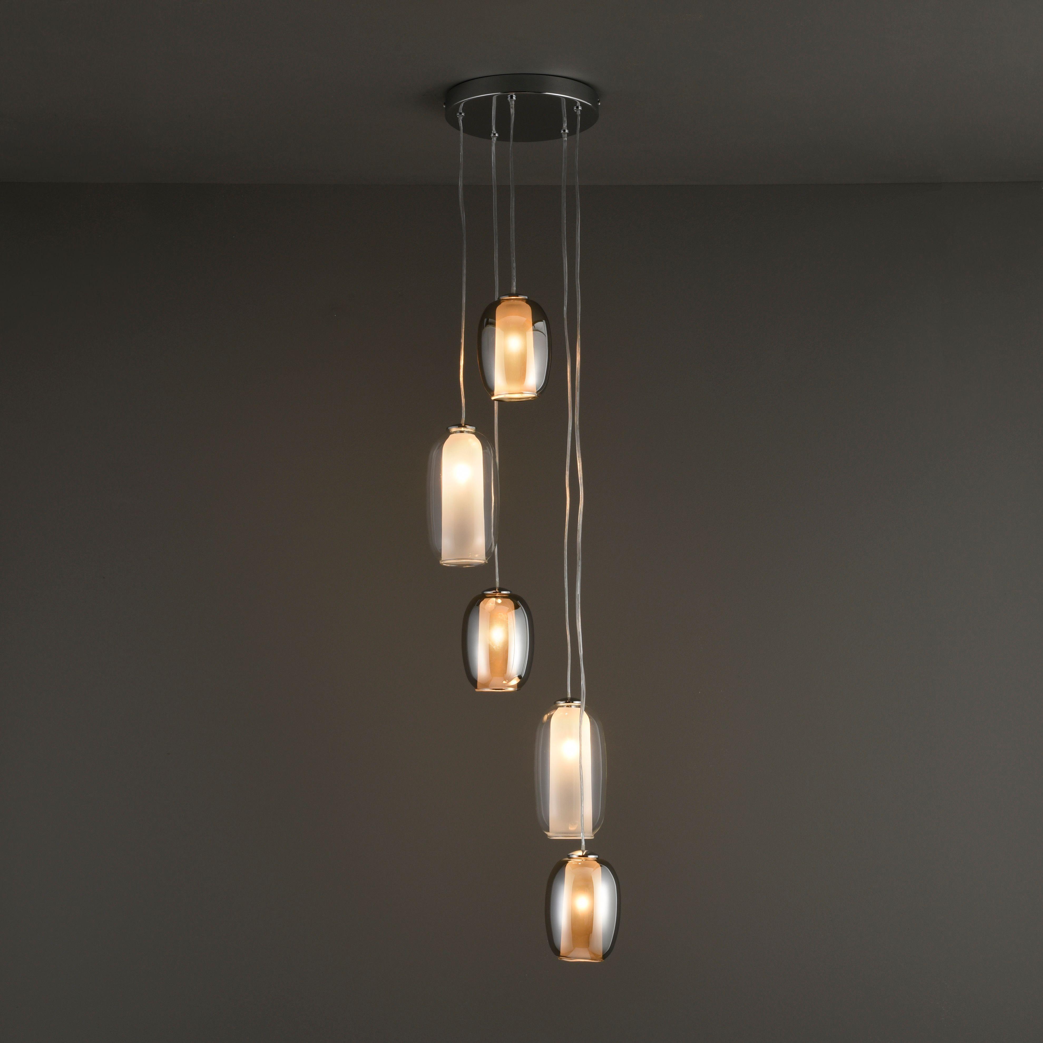 Agna Modern Smokey Grey Lustre 5 Lamp Ceiling