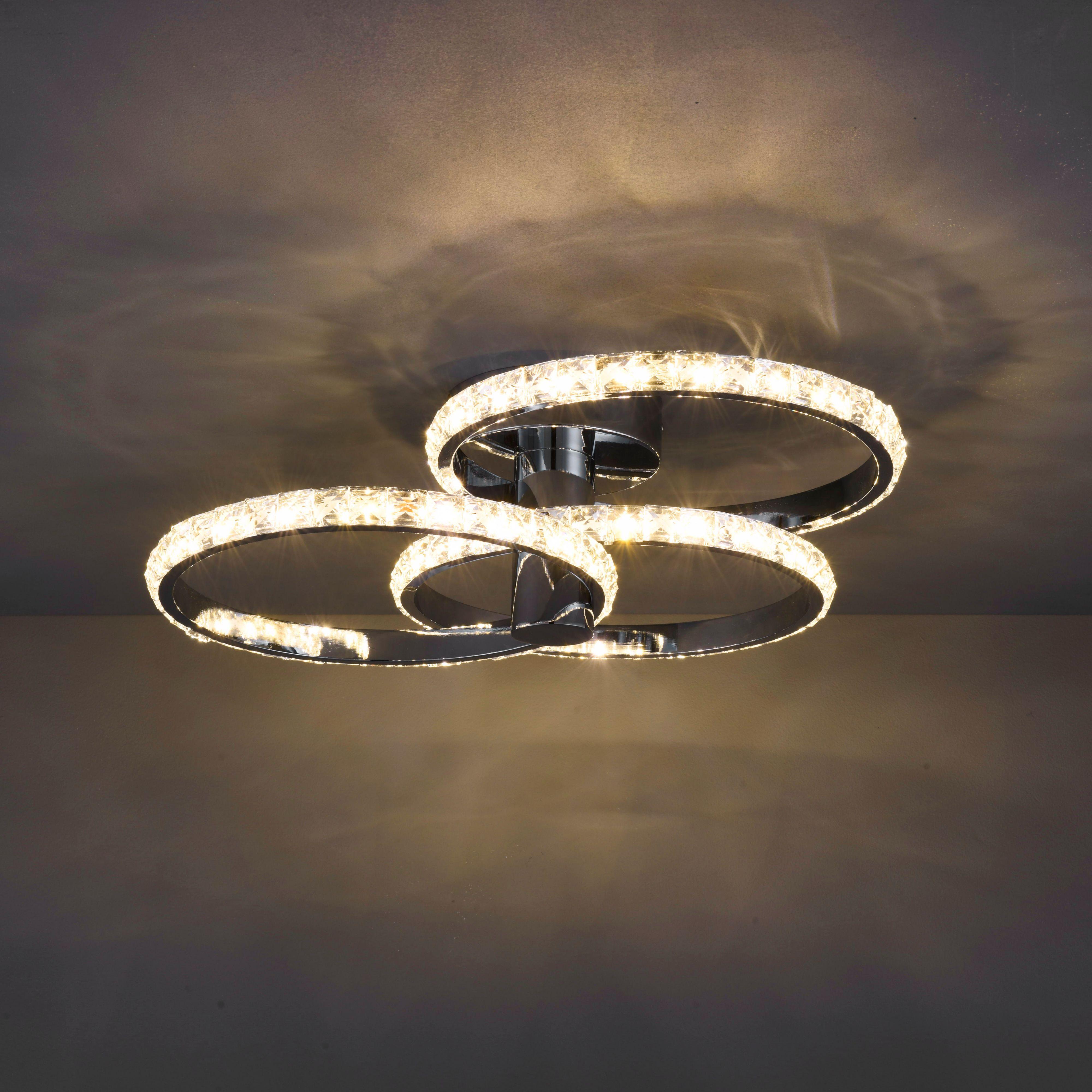 Aura Modern Chrome Effect 3 Lamp Ceiling Light