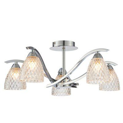 Picture of: Tetbury Brushed Chrome Effect 5 Lamp Ceiling Light Departments Diy At B Q