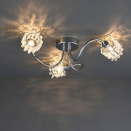Katarina Cutout & Crackle Chrome Effect 3 Lamp