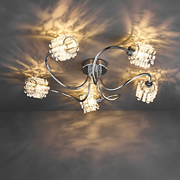 Katarina Cutout & Crackle Chrome Effect 5 Lamp