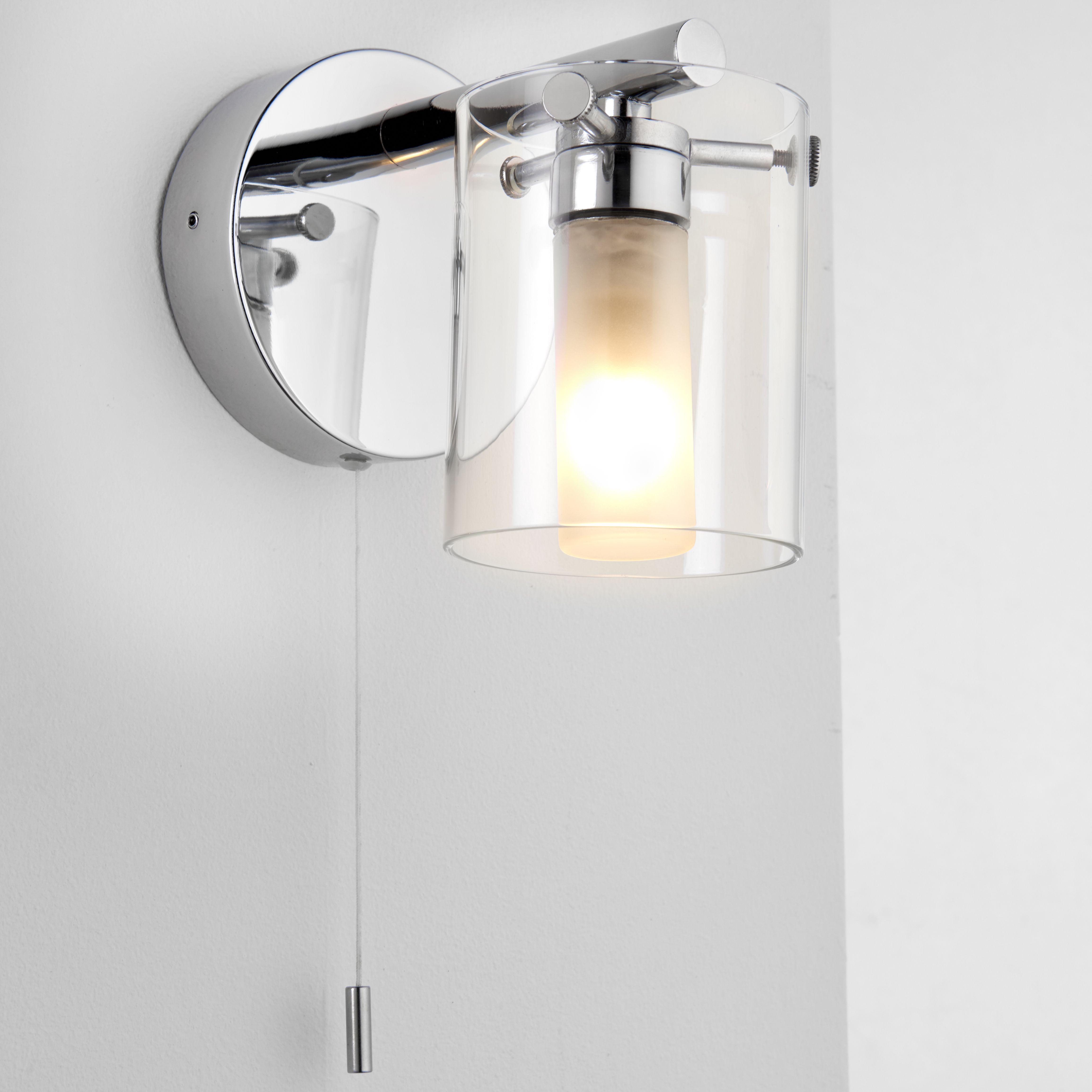 Syren Polished Chrome Effect Bathroom Wall Light Departments Diy At B Q