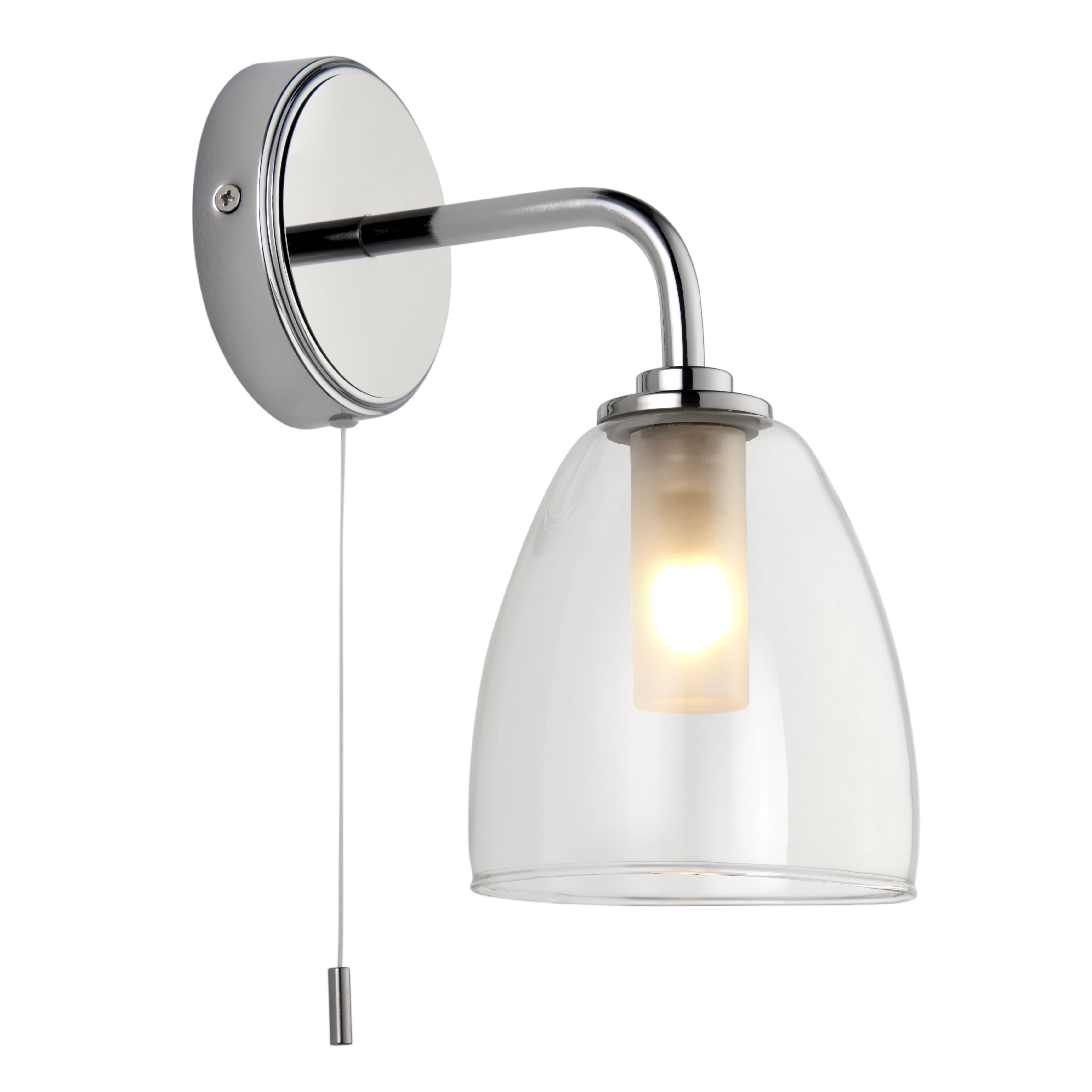 Elias Polished Chrome Effect Bathroom Wall Light Departments Diy At B Q