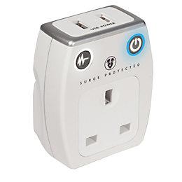 Masterplug Grey & White Gloss 13A USB Adaptor