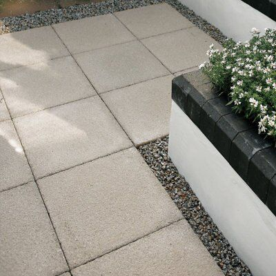 Buff Textured Paving slab (L)450 (W)450mm Pack of