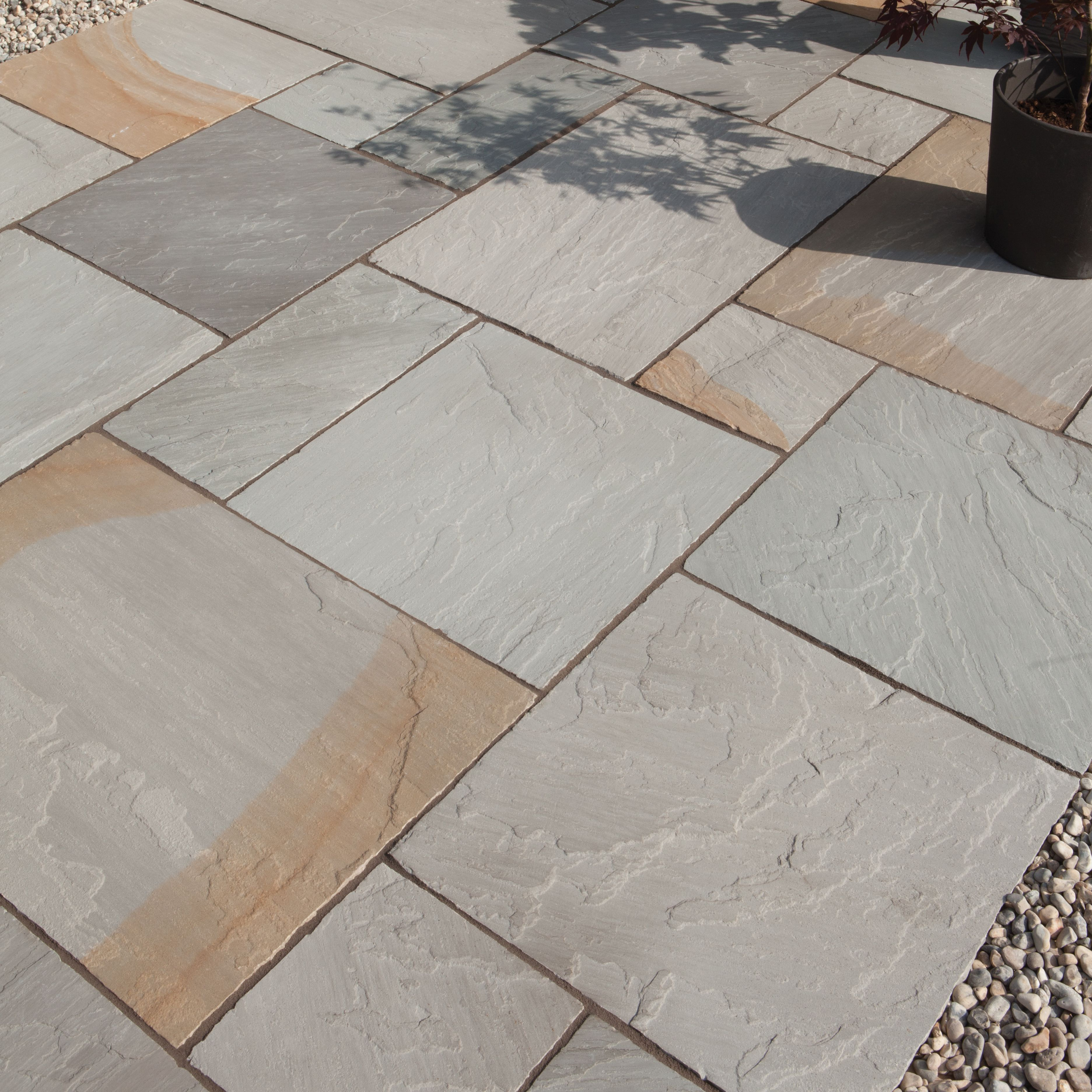 Grey blend Natural Sandstone Paving slab (L)600mm (W)600mm,