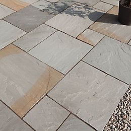 Grey Blend Natural Sandstone Paving Slab (L)600mm (W)300mm,
