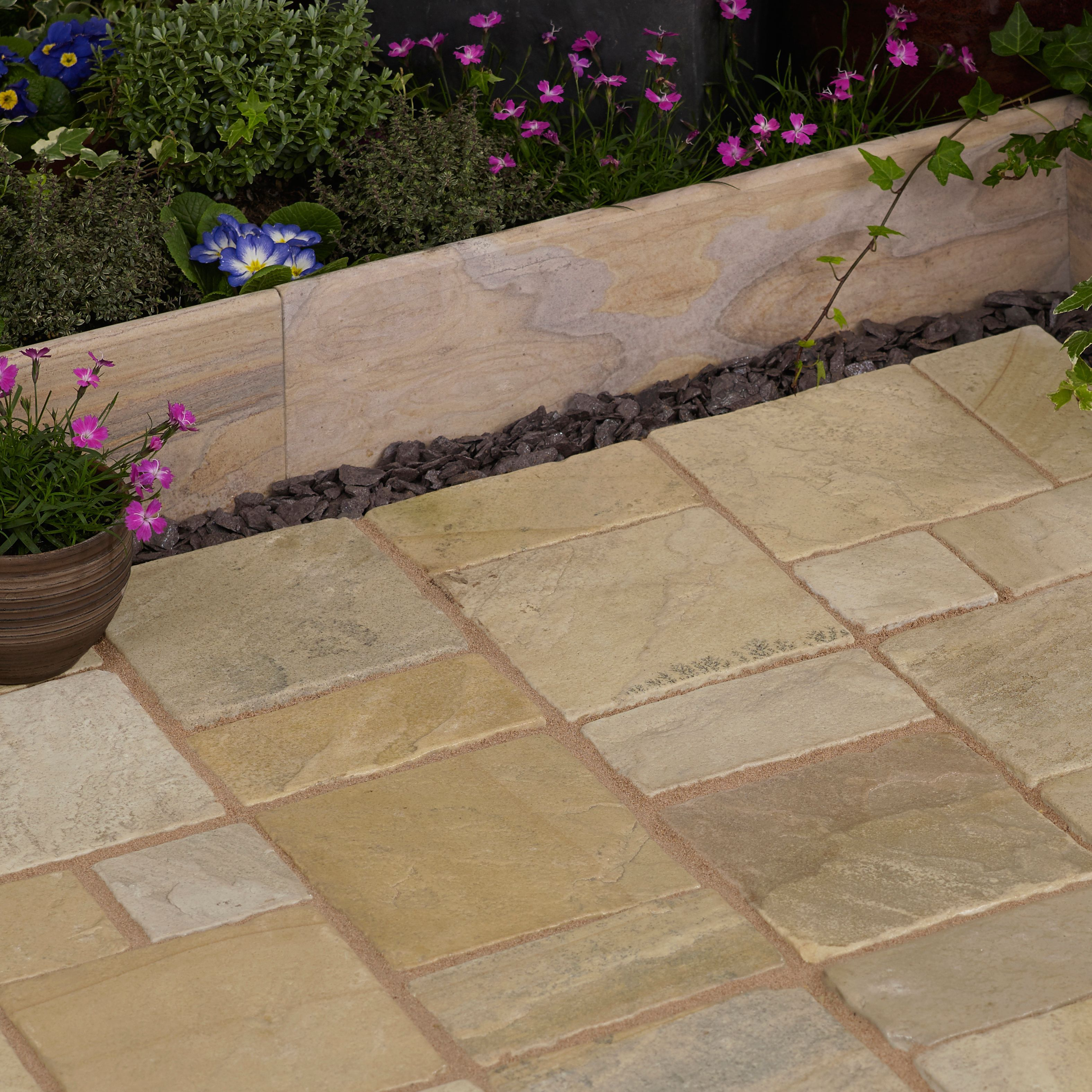 Fossil buff Natural Sandstone Cobble mat (L)500 (W)300mm