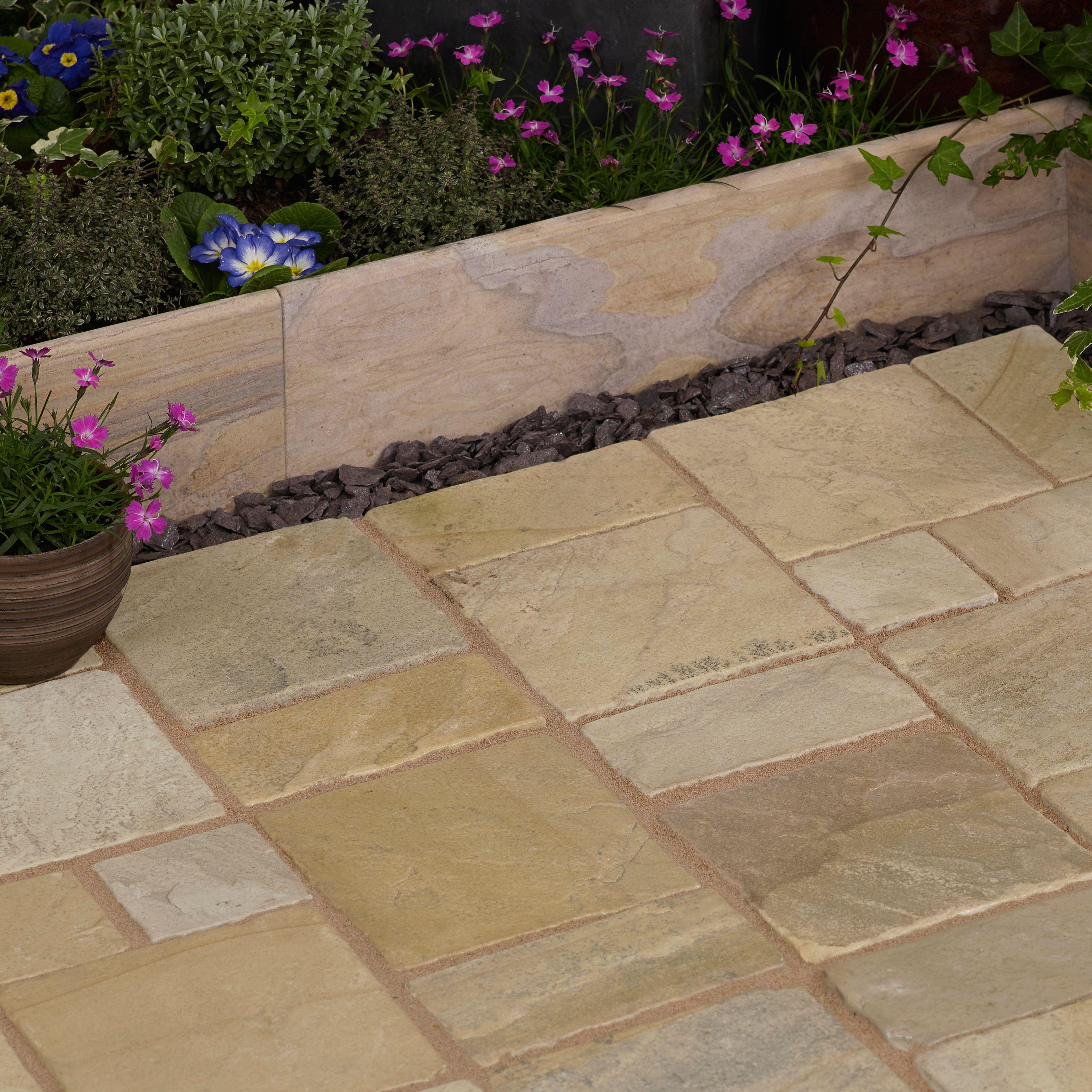 Fossil buff Natural Sandstone Cobble mat (L)500 (W)300mm