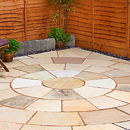 Fossil buff Natural Sandstone Circle paving pack 3.3m