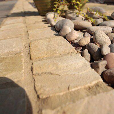 Fossil Buff Natural Sandstone Paving Setts (L)100mm (W)100mm,