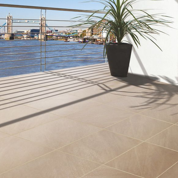 Beige Mode porcelain Paving slab (L)600 (W)600mm Pack