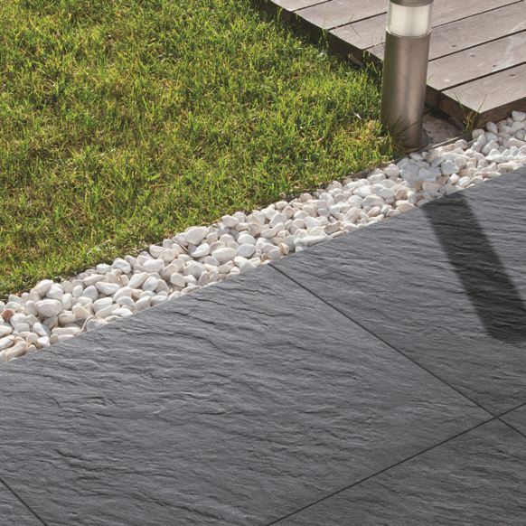 Graphite Mode porcelain Paving slab (L)600 (W)600mm Pack