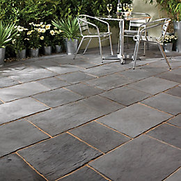Dark Grey Layered Slate Effect Mixed Size Paving