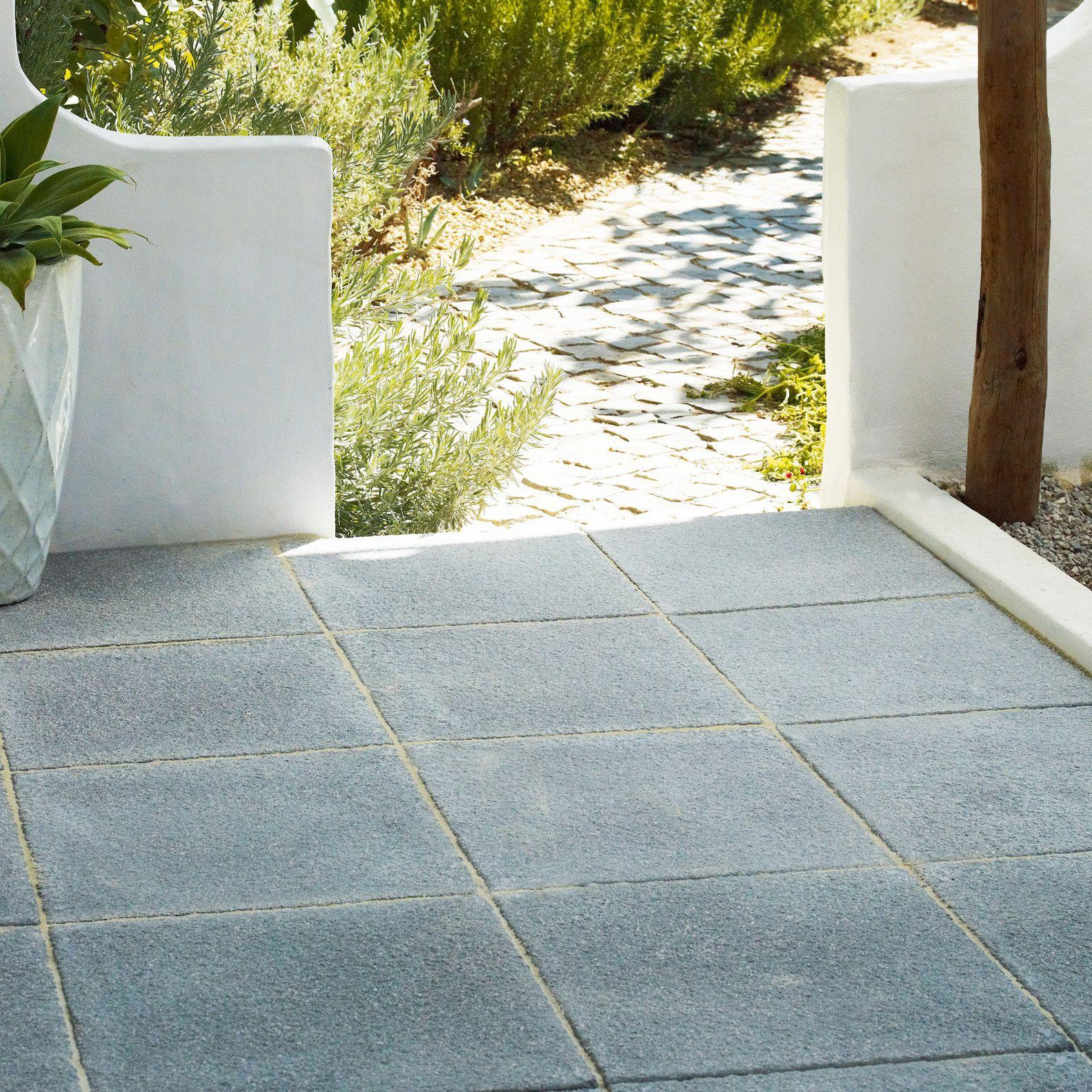 Dark grey Textured Single paving slab (L)600mm (W)600mm