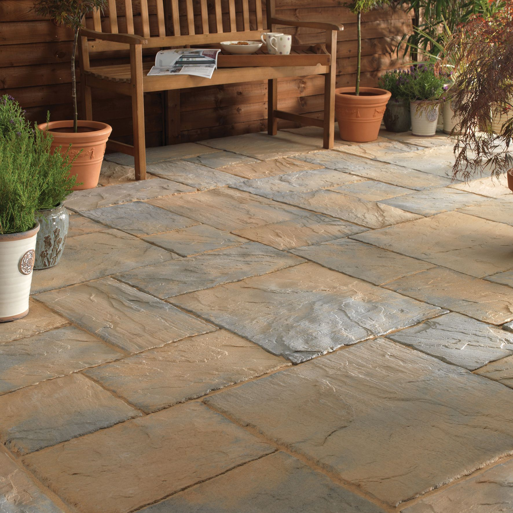 Abbey brown ancestry mixed size paving pack departments for Bath patio slabs