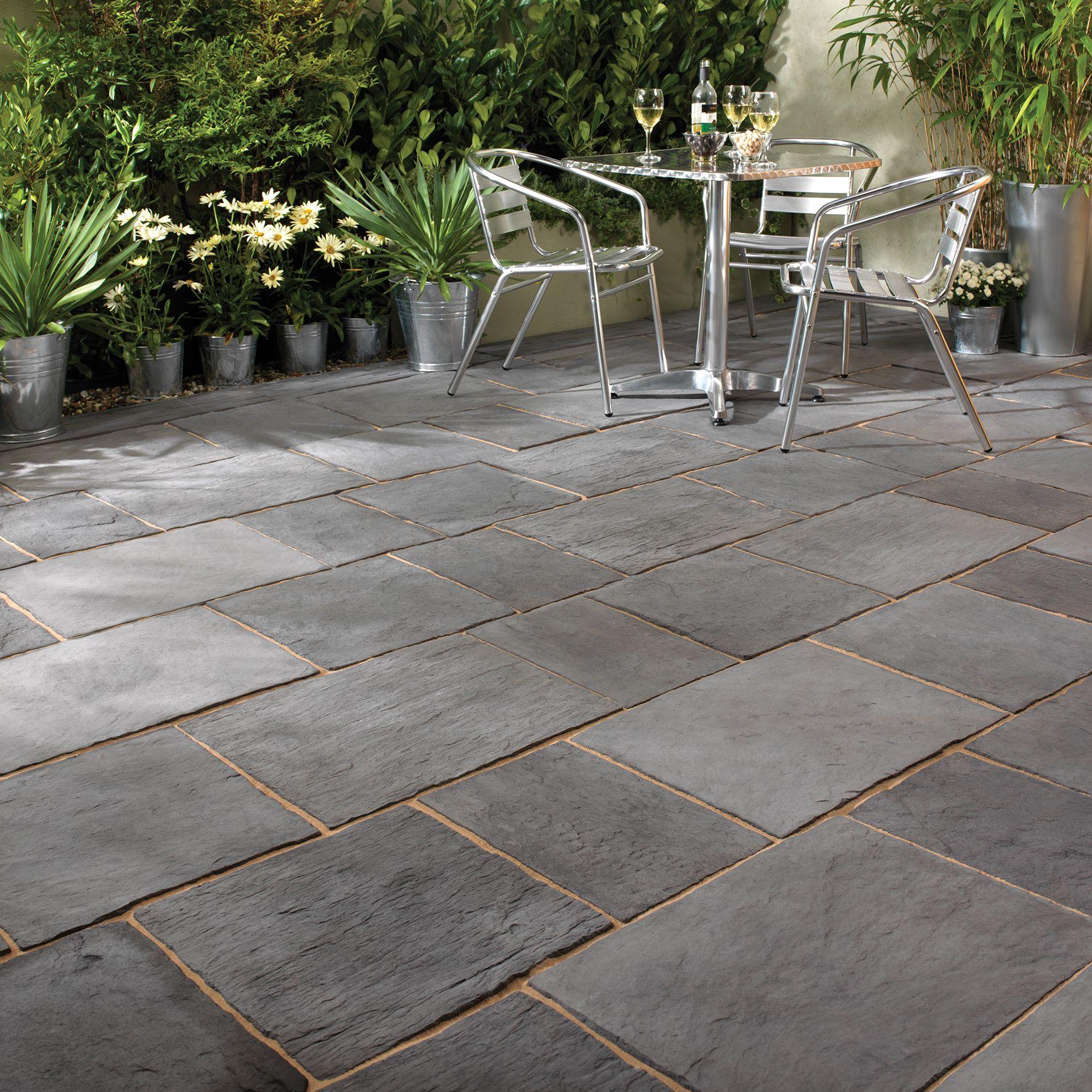 dark grey layered slate effect single paving slab l 900mm. Black Bedroom Furniture Sets. Home Design Ideas