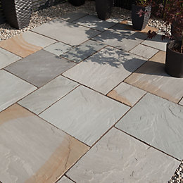 Grey blend Natural Sandstone Single paving slab (L)600mm