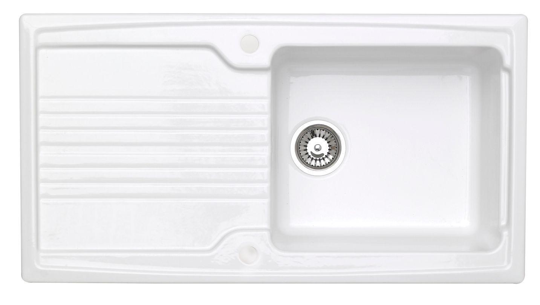 Astracast Equinox 1 Bowl White Gloss Ceramic Sink & Drainer