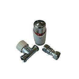 Drayton White Chrome effect Straight Thermostatic radiator valve