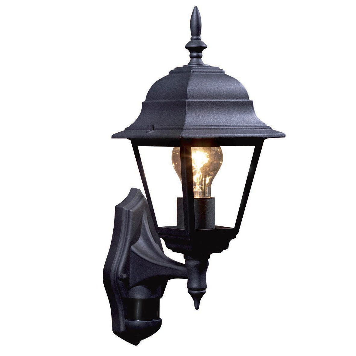 Polperro Black 60w Mains Powered External Pir Lantern
