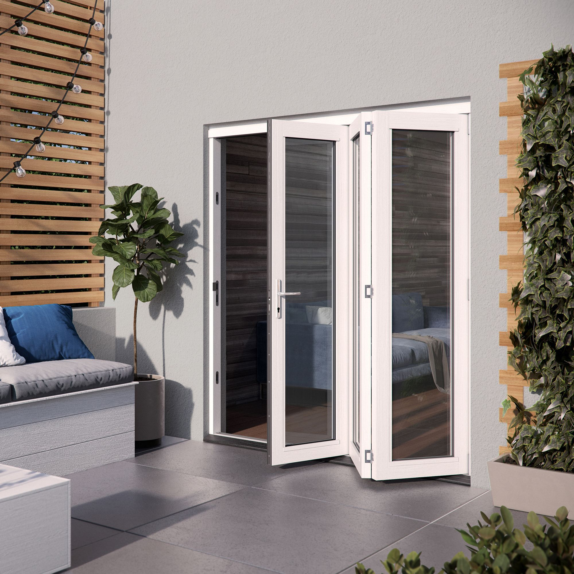 White Hardwood Glazed Patio door set, (H)2104mm (W)1804mm
