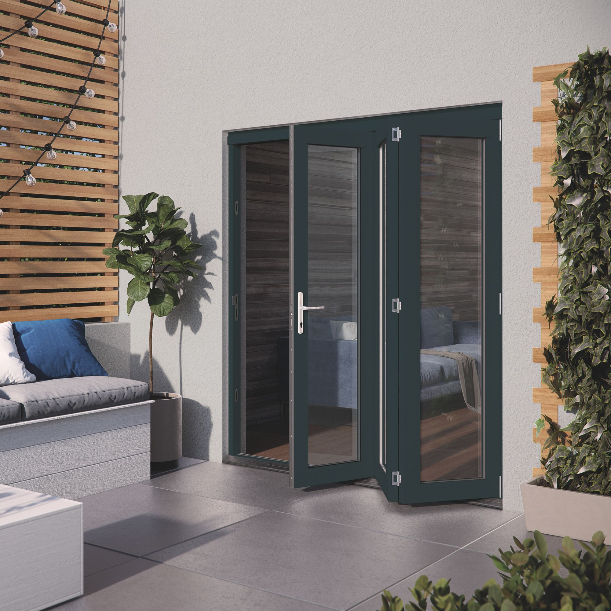 Diy Patio Door Installation: Grey Hardwood Glazed Patio Door Set, (H)2104mm (W)1804mm