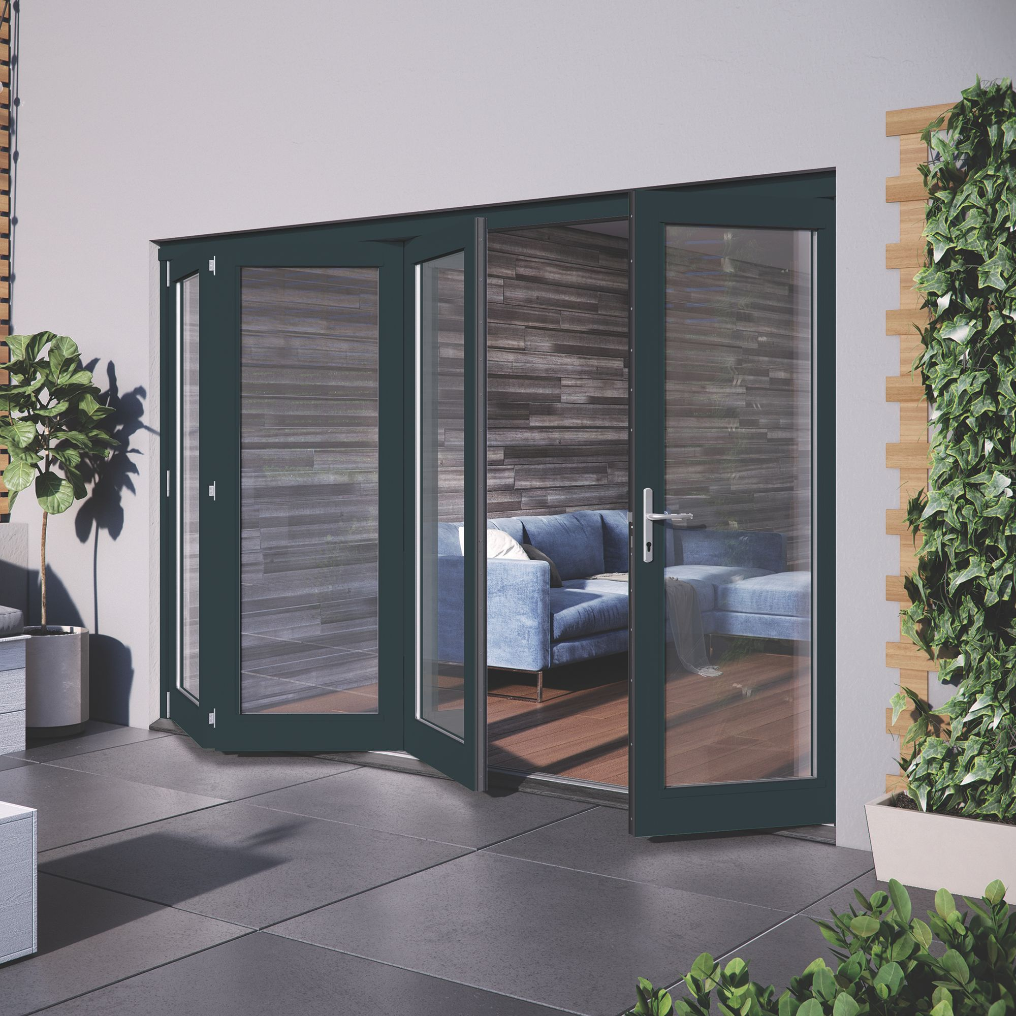 Grey Hardwood Glazed Patio door set, (H)2104mm (W)3004mm