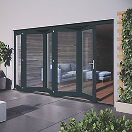 Grey Hardwood Glazed Patio door set, (H)2104mm (W)3504mm