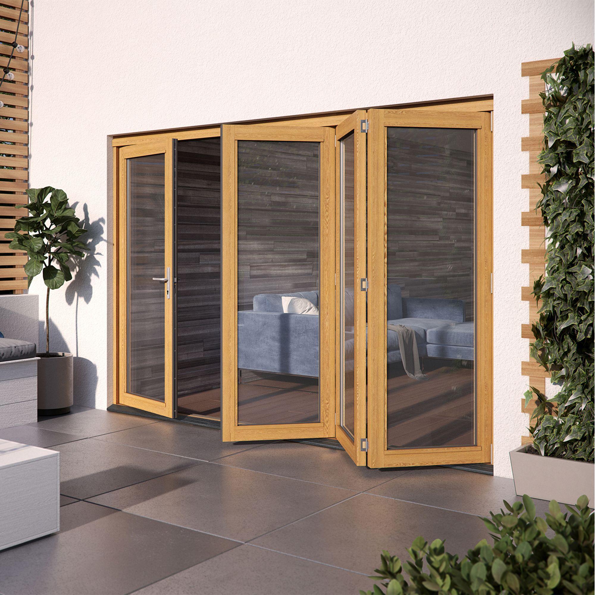 Golden Oak Hardwood Glazed Patio door set, (H)2104mm