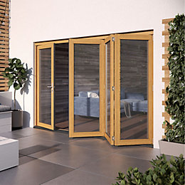 Golden Oak Hardwood Glazed Patio door set, (H)2104mm