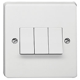 Crabtree 10A 2-Way Triple White Gloss Light Switch