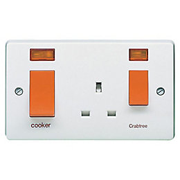 Crabtree 45A Double Pole White Cooker Switch &