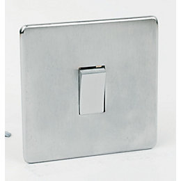 Crabtree 10A 2-Way Single Brushed Chrome Light Switch