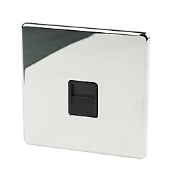 Crabtree 1-Gang Flat Screwed Chrome Effect Telephone Socket