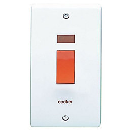 Crabtree 45A Double Pole White/Brass Effect Cooker Switch