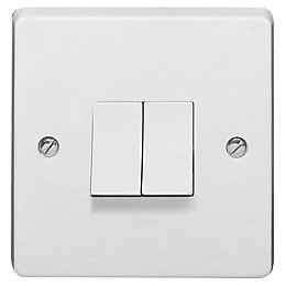 Crabtree 10A 2-Way Double White Gloss Light Switch