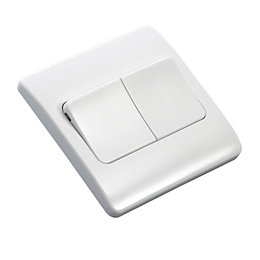 MK 10A 2-Way Double White Gloss Light Switch