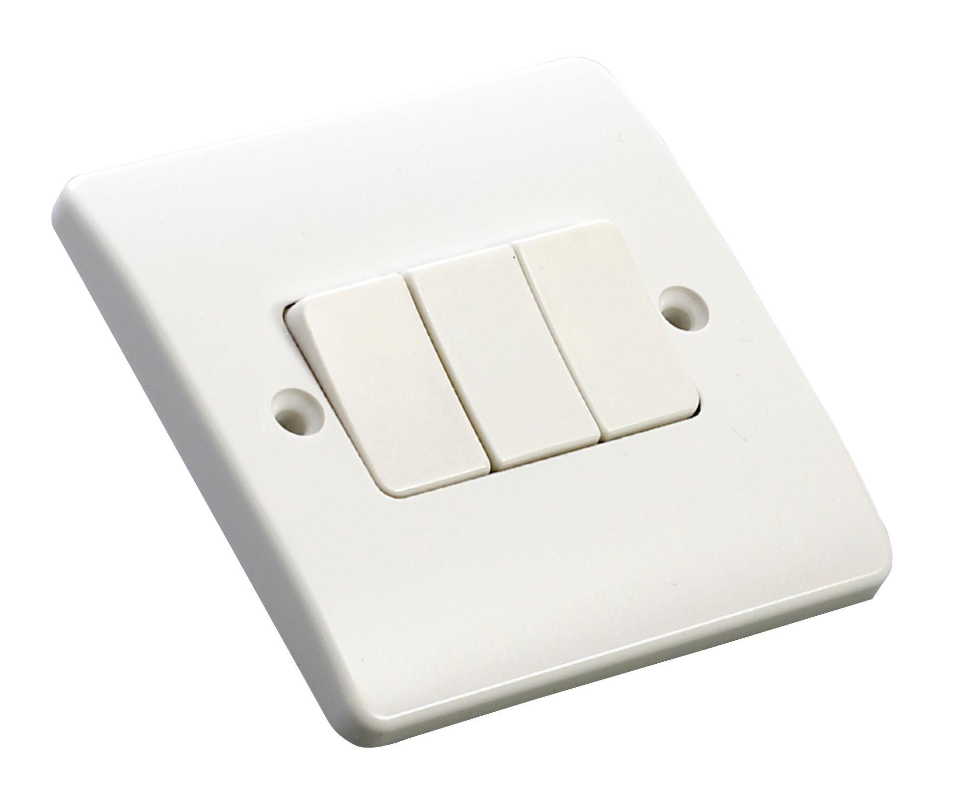 MK 10A 2-Way Triple White Gloss Light Switch | Departments | DIY ...