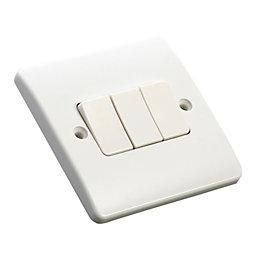 MK 10A 2-Way Triple White Gloss Light Switch