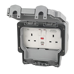 MK Masterseal Plus 13A Grey Switched RCD Socket