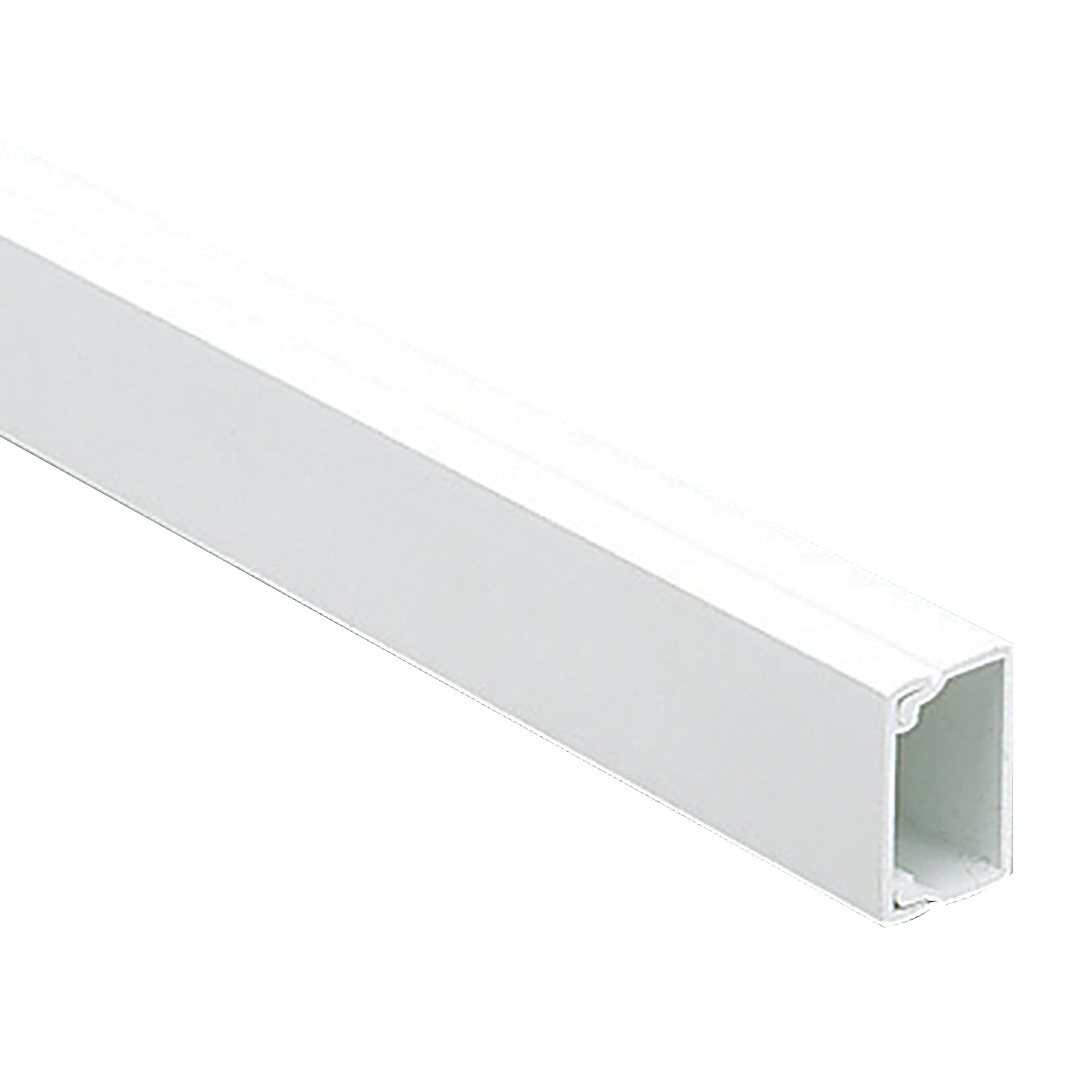 Mk 40mm X 16mm 3m White Mini Trunking Departments Diy At Bq Of Pvc Conduits Pipes Electrical Trunkings Plumbing