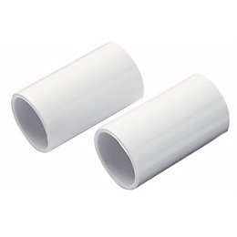 MK White Coupling (Dia)20mm, Pack of 2