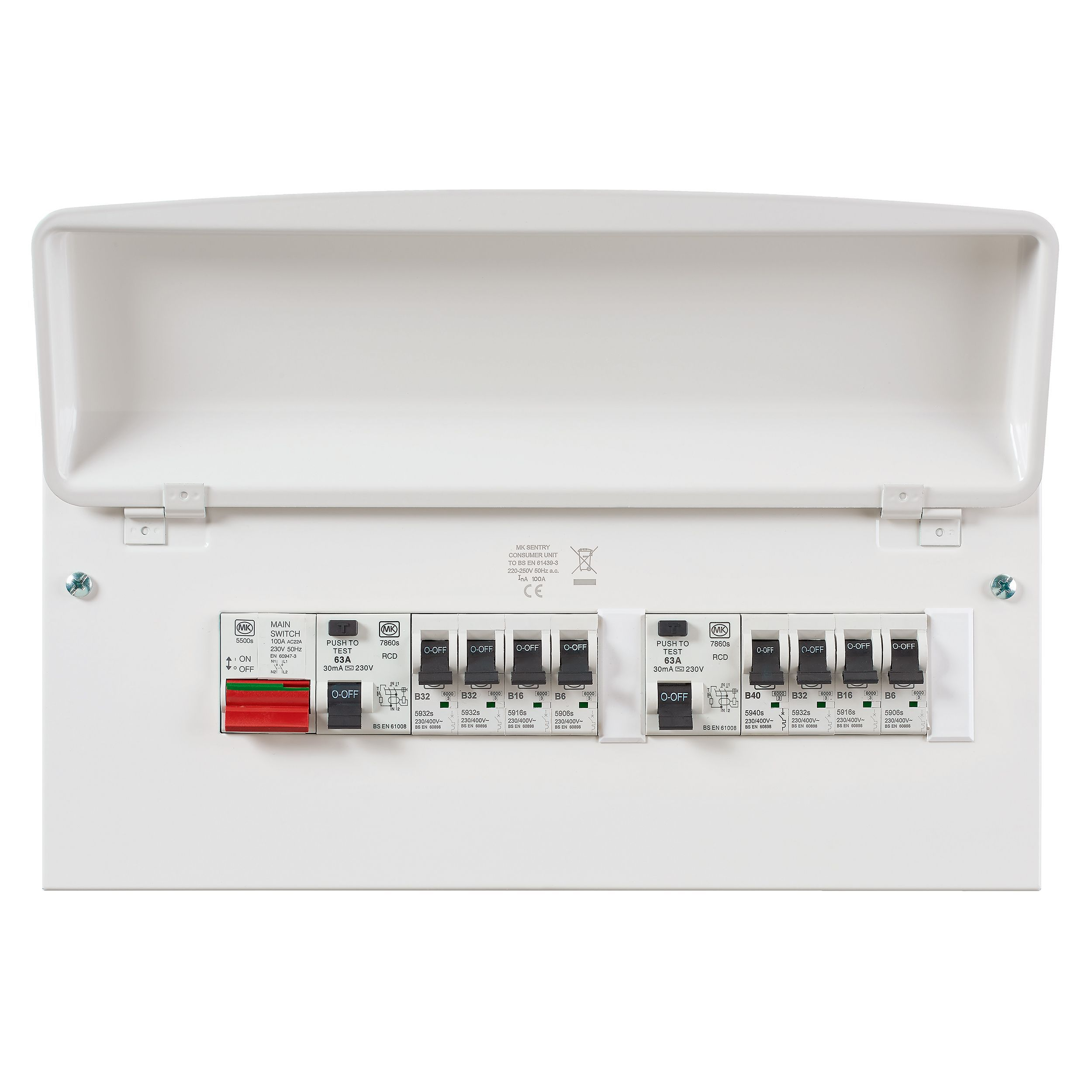 Fuse Box Rcd Switch : Mk a way safety switch metal enclosure consumer unit