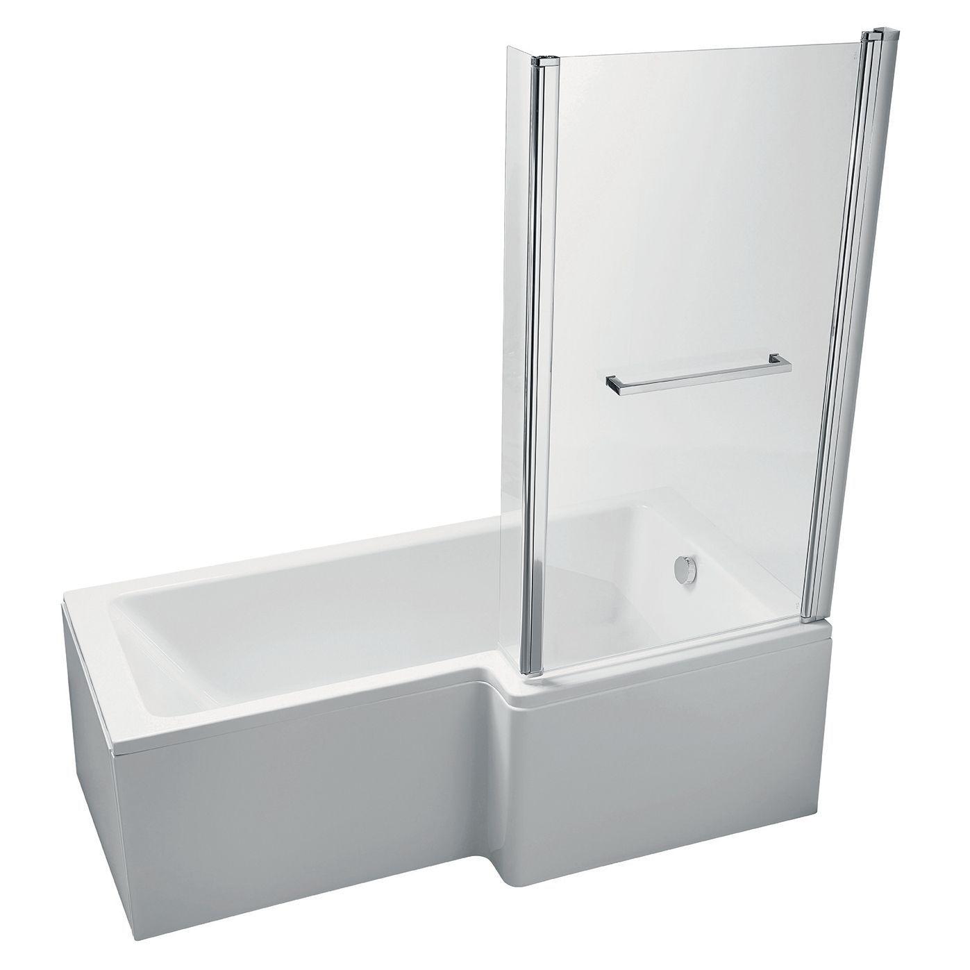 Ideal Standard Imagine RH Acrylic Rectangular Shower Bath, Front Panel &  Screen (L)1695mm (W)845mm   Departments   DIY at B&Q