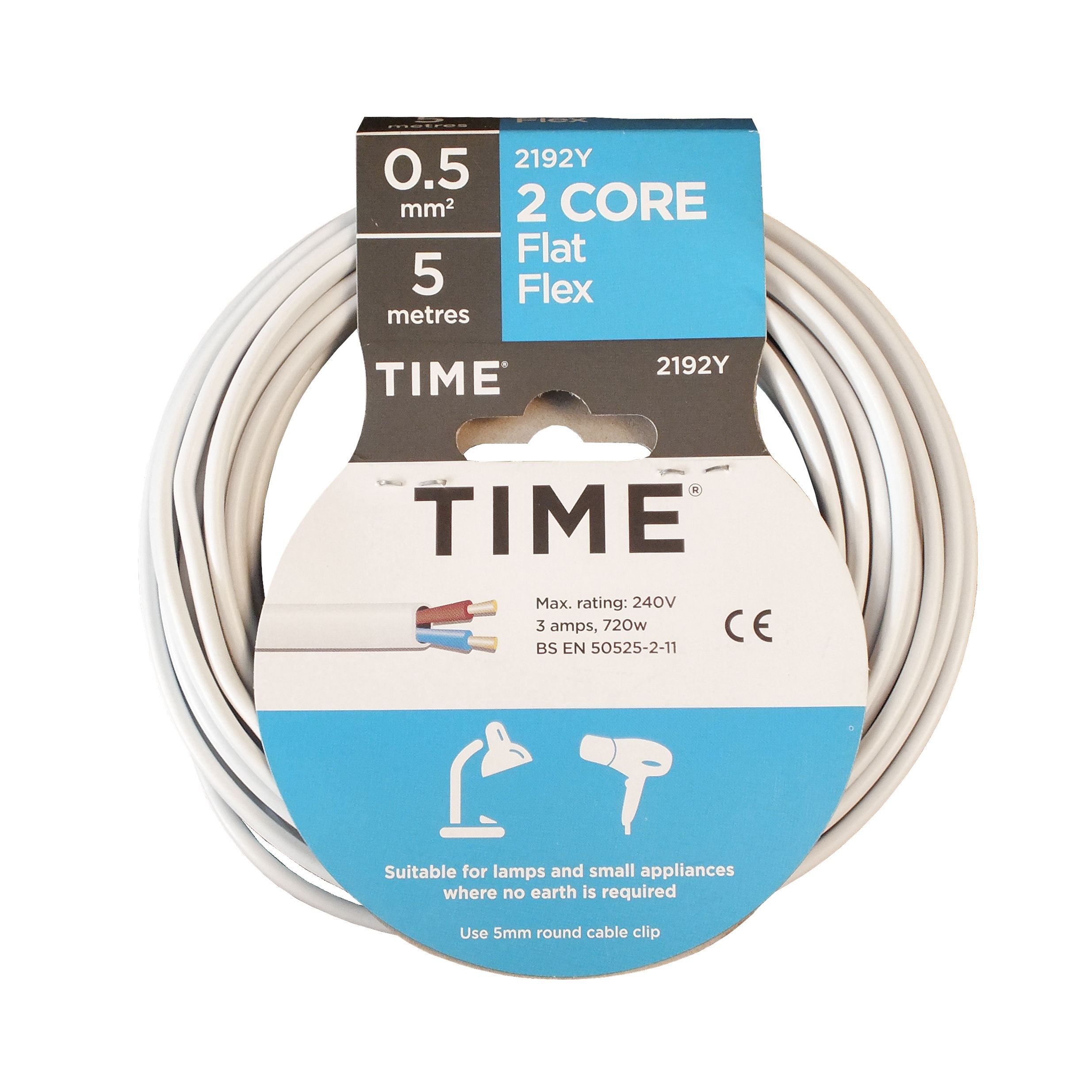 Time 2 core Flat flexible cable 0.5mm² 2192Y White 5 m | Departments ...