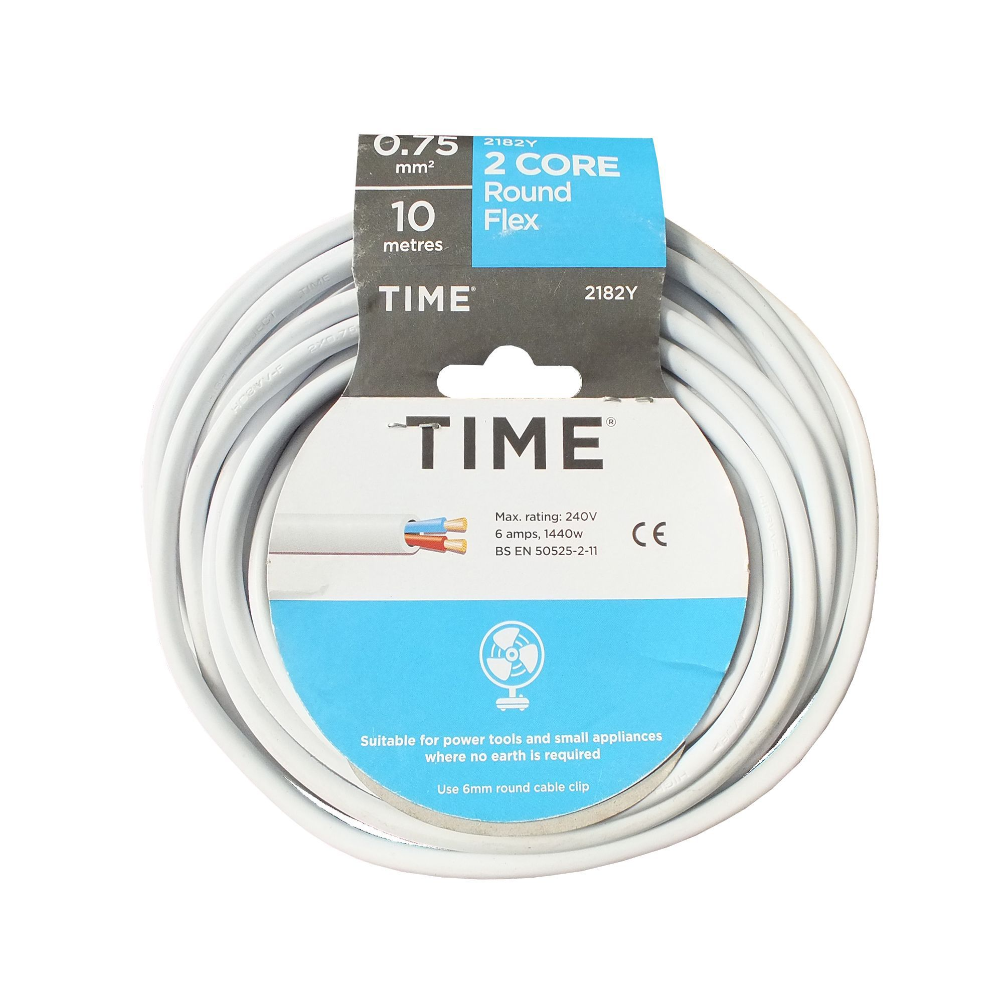 Time 2 Core Round Flexible Cable 075mm 2182y White 10 M Junction Box Wiring Bq Departments Diy At